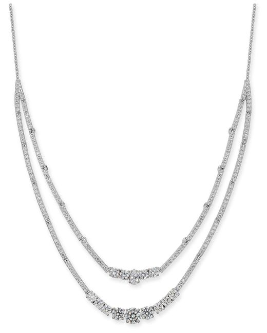 """Danori - Metallic Silver-tone Crystal & Stone Double-layer Necklace, 16"""" + 1"""" Extender, Created For Macy's - Lyst"""