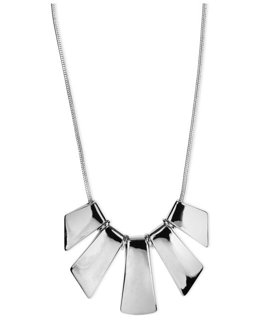 Nine West - Metallic Necklace, Silver-tone Five-plate Frontal Necklace - Lyst