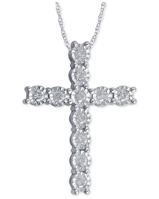 Macy's | Metallic Diamond Cross Pendant Necklace (1/4 Ct. T.w.) In Sterling Silver | Lyst