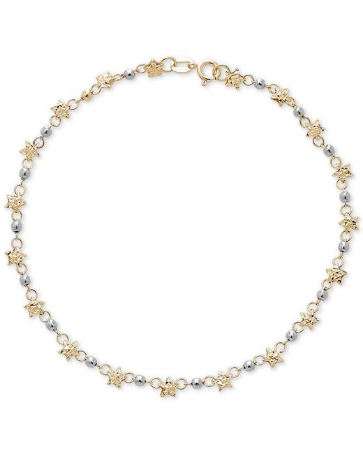 Macy's - Metallic Star & Bead Link Bracelet In 14k Gold - Lyst