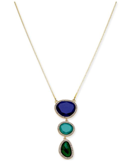 "INC International Concepts - Metallic I.n.c. Gold-tone Triple-stone Pendant Necklace, 33"" + 3"" Extender, Created For Macy's - Lyst"