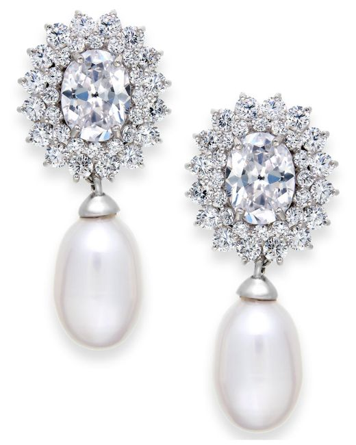 Arabella - White Cultured Freshwater Pearl (8mm) And Swarovski Zirconia Earrings In Sterling Silver - Lyst