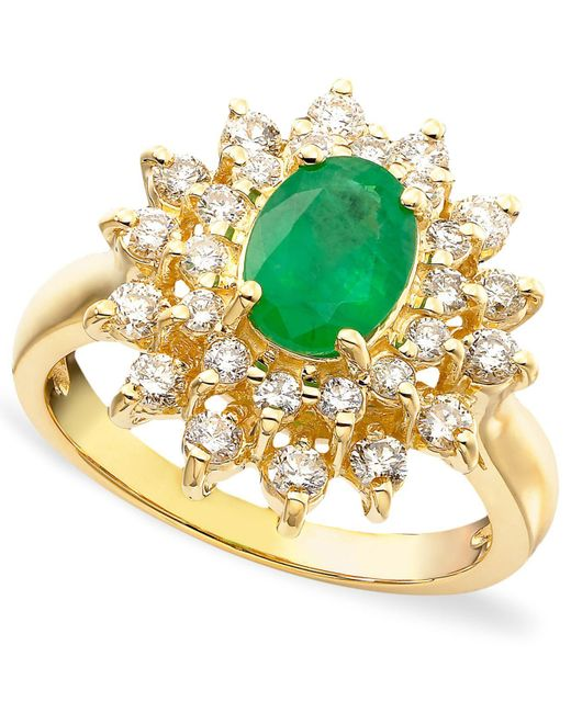 Effy Collection - Metallic Emerald (1-1/8 Ct. T.w.) And Diamond (3/4 Ct. T.w.) Ring In 14k Gold - Lyst