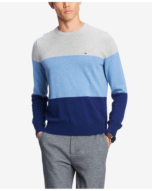 Tommy Hilfiger - Blue Colorblocked Sweater, Created For Macy's for Men - Lyst