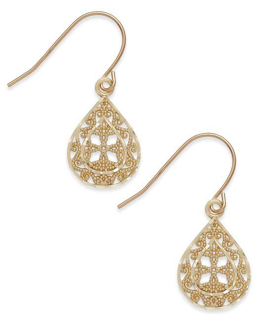 Macy's - Metallic Filigree Teardrop Earrings In 10k Gold - Lyst