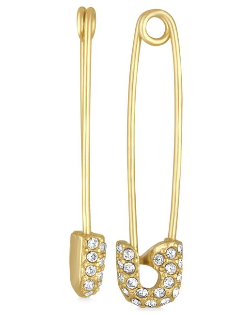 RACHEL Rachel Roy - Metallic Gold-tone Pavé Safety Pin Drop Earrings - Lyst
