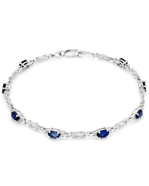 Macy's - Metallic Sapphire (2-1/2 Ct. T.w.) And Diamond (1/10 Ct. T.w.) Link Bracelet In 14k White Gold - Lyst