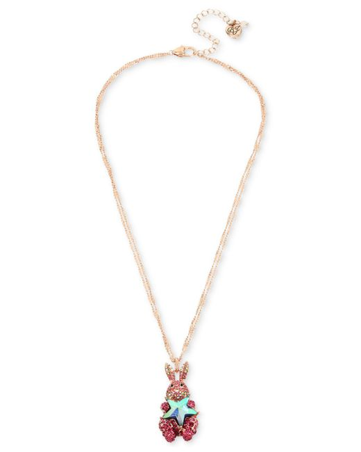 Betsey Johnson - Two-tone Pink Pavé & Imitation Pearl Bunny Pendant Necklace - Lyst
