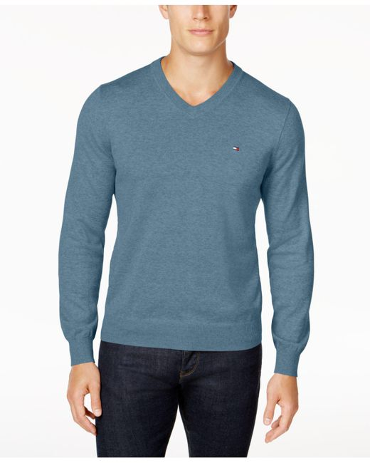 Tommy Hilfiger - Gray Signature Solid V-neck Sweater, Created For Macy's for Men - Lyst