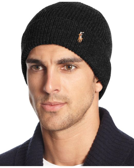Polo Ralph Lauren - Black Hat, Wool Signature Cuff for Men - Lyst