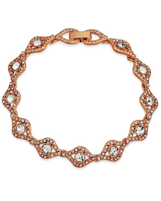 Charter Club | Pink Rose Gold-tone Crystal Link Bracelet, Created For Macy's | Lyst