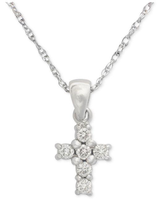 Macy's | Metallic Cross Diamond Pendant Necklace In 14k White Gold (1/8 Ct. T.w.) | Lyst