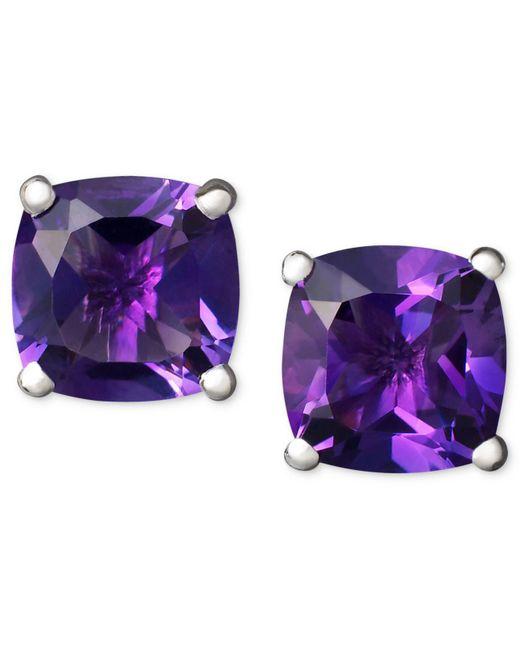 Macy's | Purple 14k White Gold Earrings, Amethyst Cushion Studs | Lyst