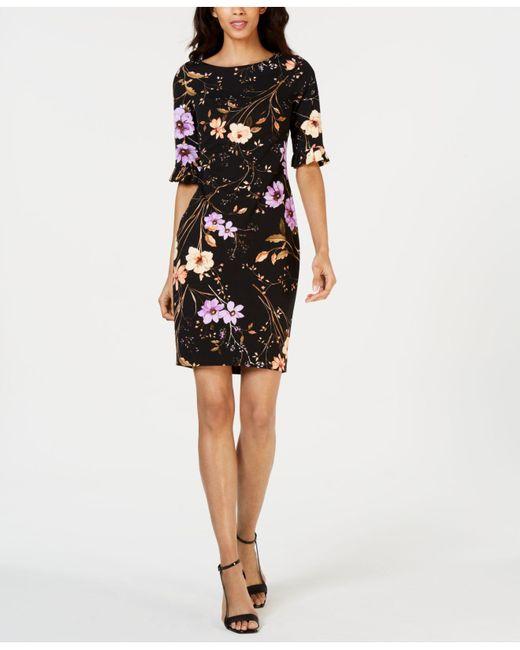 baaa9684 Calvin Klein - Black Petite Dark Floral-print Sheath Dress - Lyst ...
