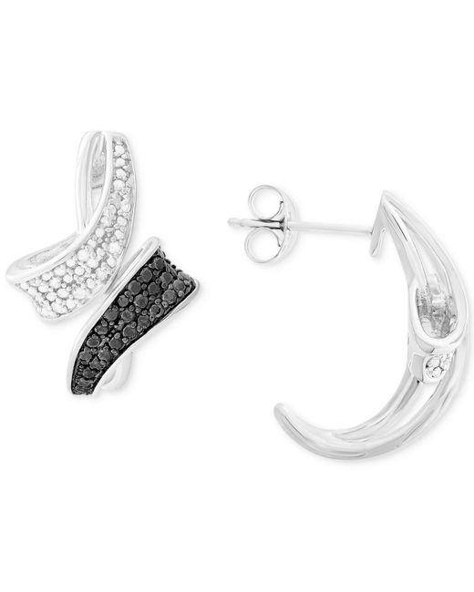 Macy's - Metallic Diamond Curved Bypass Drop Earrings (1/4 Ct. T.w.) In Sterling Silver - Lyst