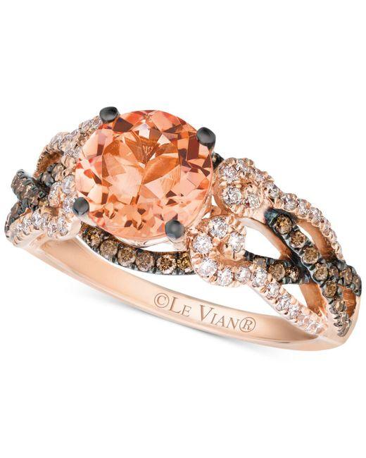 Le Vian - Orange Peach Morganite (1-3/8 Ct. T.w.) And Diamond (5/8 Ct. T.w.) Ring In 14k Rose Gold - Lyst