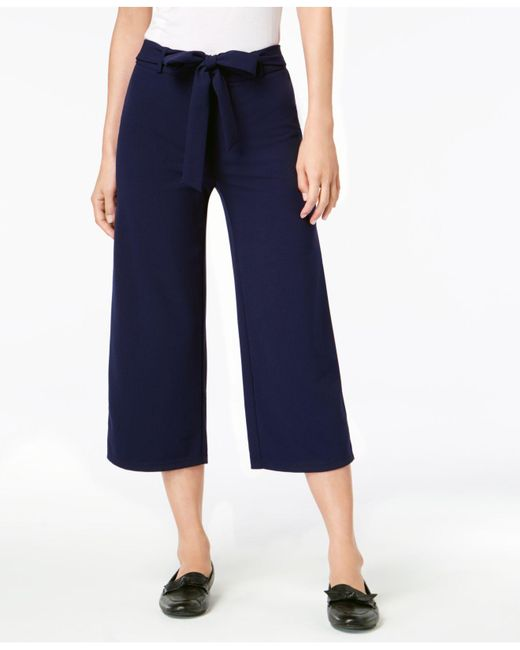 Maison Jules - Blue Pull-on Tie-waist Cropped Pants, Created For Macy's - Lyst