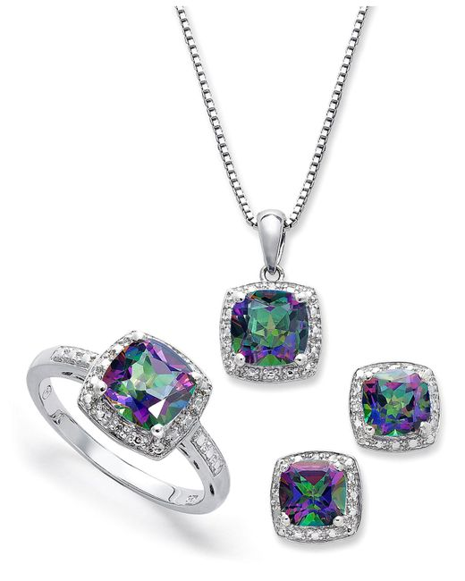 Macy's - Blue Sterling Silver Jewelry Set, Mystic Topaz (4-3/4 Ct. T.w.) And Diamond Accent Necklace, Earrings And Ring Set - Lyst