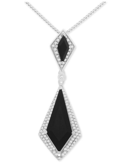 Macy's - Metallic Onyx (6 X 3mm, 20 X 8mm) And Diamond (1/10 Ct. T.w.) Pendant Necklace In Sterling Silver - Lyst