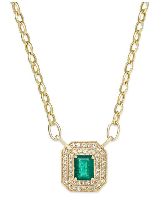 Effy Collection | Green Emerald (1-3/8 Ct. T.w.) And Diamond (1/2 Ct. T.w.) Pendant Necklace In 14k Gold | Lyst