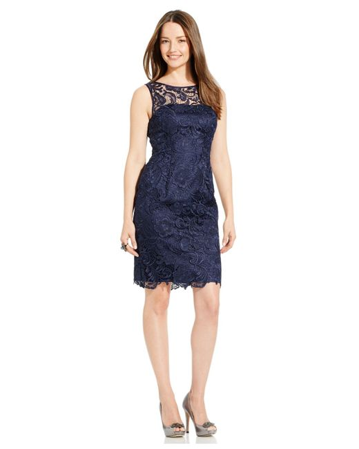 Adrianna Papell | Blue Dress, Sleeveless Lace Sheath | Lyst