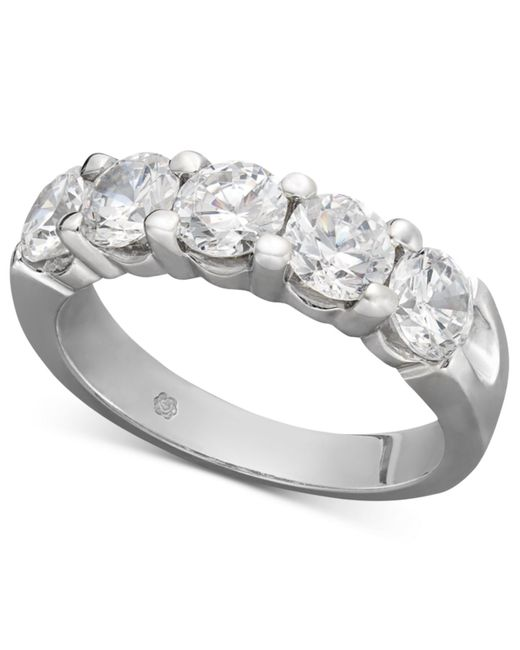 Macy's | Gray Certified Five Diamond Station Band Ring In 14k White Gold (2 Ct. T.w.) | Lyst