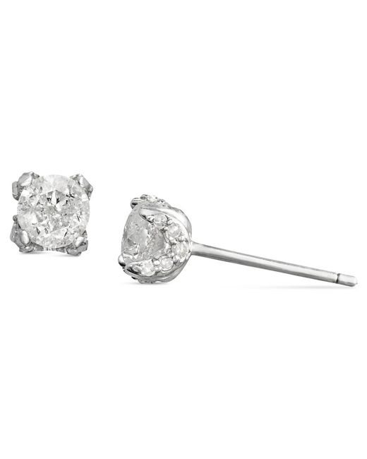 Macy's | Metallic Diamond Pave Stud Earrings In 14k White Gold (3/4 Ct. T.w.) | Lyst