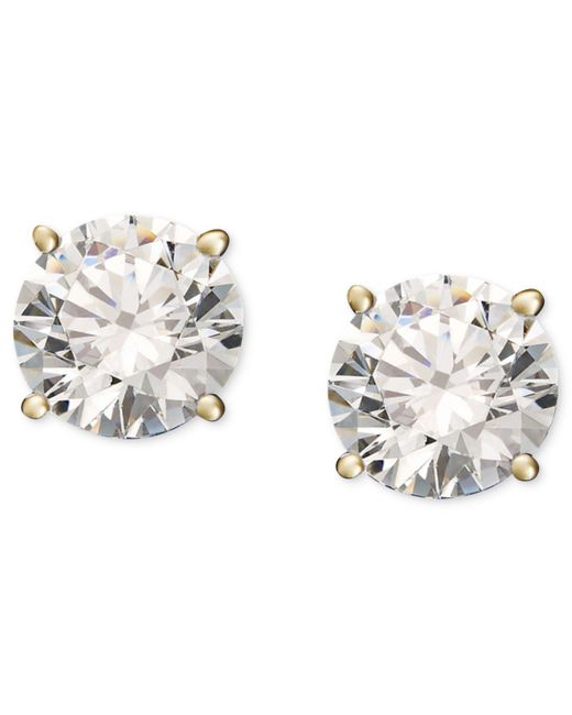 Macy's | Metallic Diamond Stud Earrings (1/4 Ct. T.w.) In 14k White Or Yellow Gold | Lyst