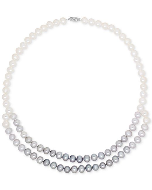 Macy's - White Cultured Freshwater Pearl (7mm) Ombré Double Strand Collar Necklace - Lyst
