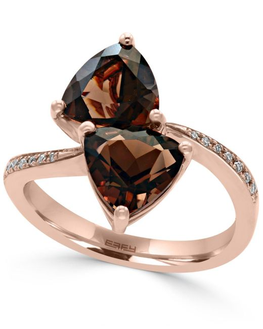 Effy Collection - Metallic Smoky Quartz (3-3/8 Ct. T.w.) And Diamond Accent Bypass Ring In 14k Rose Gold - Lyst