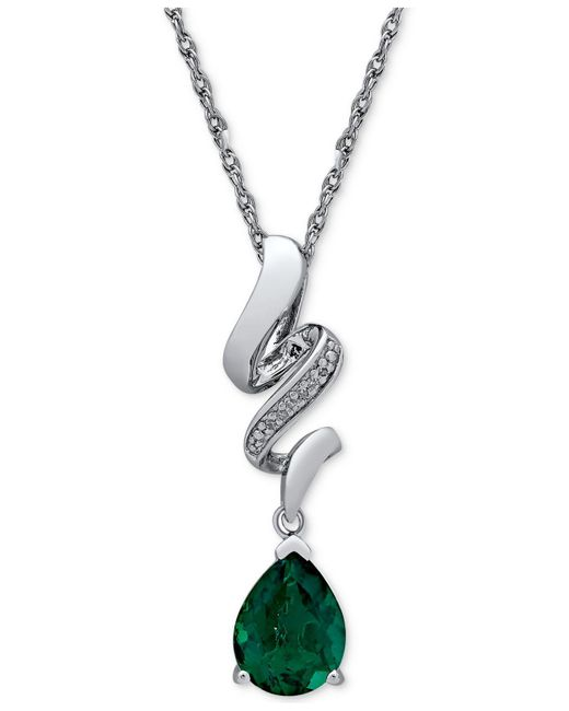 Macy's - Green Lab Created Emerald (1-5/8 Ct. T.w.) & Diamond Accent Pendant Necklace In Sterling Silver - Lyst