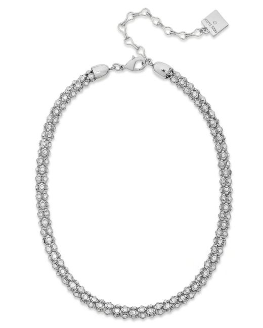 Anne Klein - Metallic Silver-tone Pave Accent Tubular Collar Necklace - Lyst