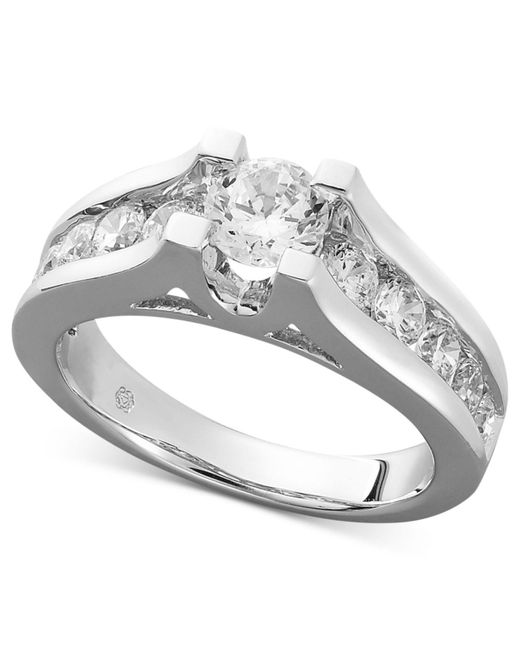 Macy's - Metallic Diamond Channel Engagement Ring In 14k White Gold (1-1/2 Ct. T.w.) - Lyst