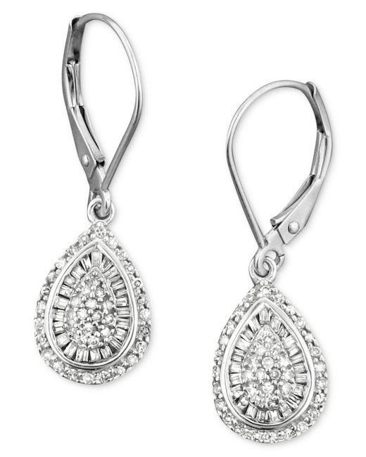 Wrapped in Love - Diamond Teardrop Earrings In 14k White Gold (1/2 Ct. T.w.) - Lyst