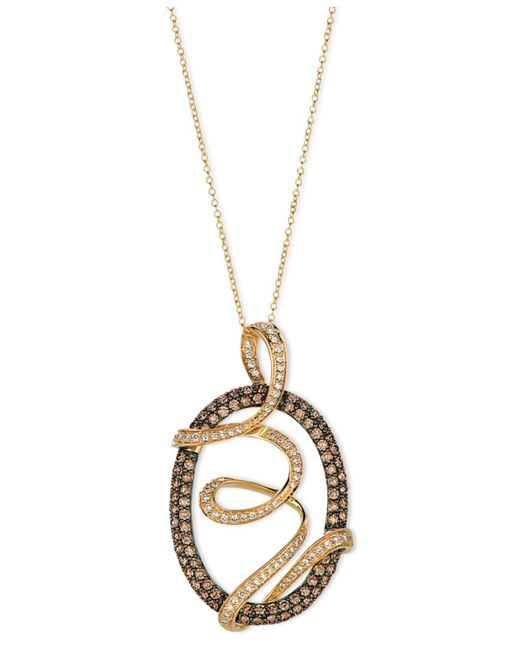 Le Vian - Brown Chocolate Diamond And White Diamond Oval Wrap Pendant (1-3/4 Ct. T.w.) In 14k Gold - Lyst