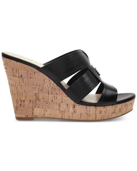 0c667cc52020 ... Guess - Black Eadra Wedge Slide Sandals - Lyst ...
