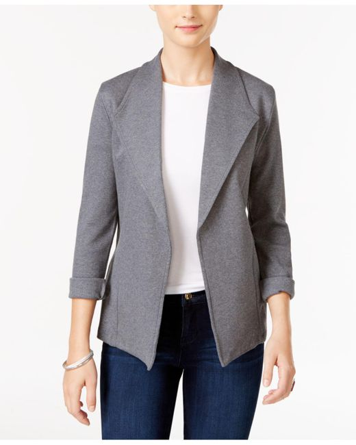 Style & Co. | Gray Open-front Long-sleeve Blazer | Lyst