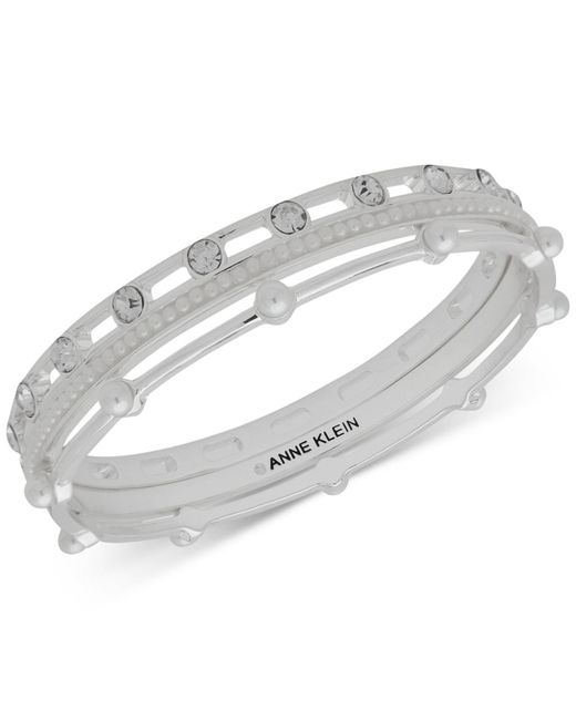 Anne Klein - Metallic Silver-tone 3-pc. Set Crystal Bangle Bracelets, Created For Macy's - Lyst