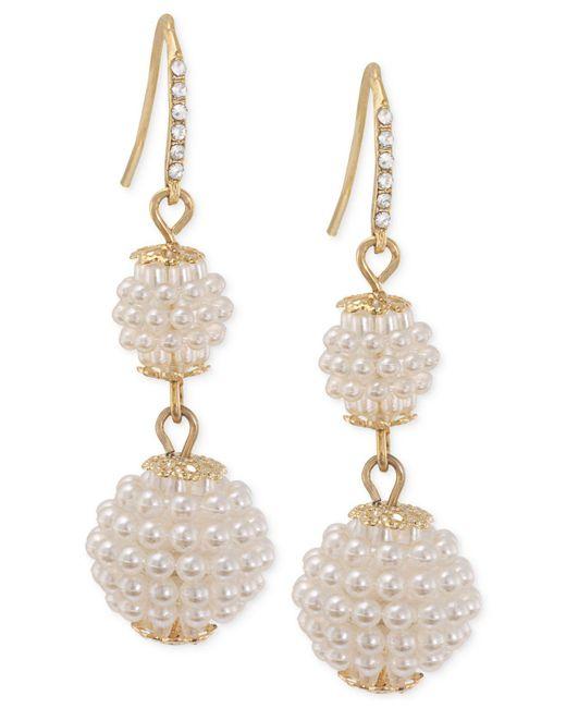 Carolee - Metallic Gold-tone Imitation Seed Pearl Double Drop Earrings - Lyst