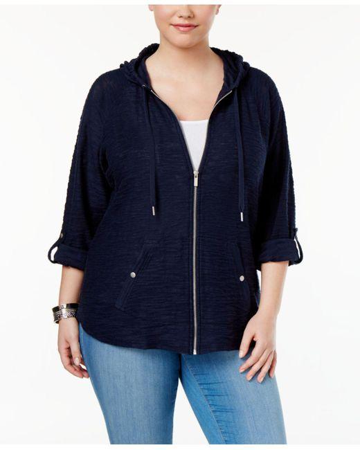 Style & Co.   Blue Plus Size Zip Hooded Jacket   Lyst