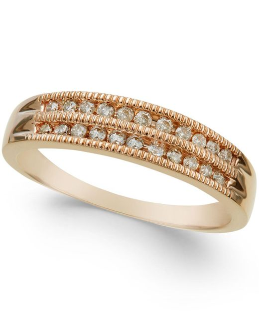 Macy's | Metallic Diamond Two-row Milgrain Band (1/5 Ct. T.w.) In 14k Rose Gold | Lyst
