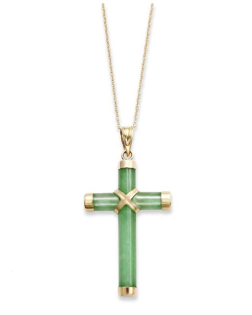 Macy's - Metallic Jade Cross Pendant Necklace In 10k Gold (20 Ct. T.w.) - Lyst