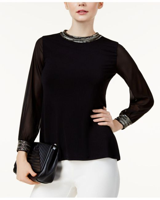 Alfani - Black Petite Beaded Sheer-sleeve Top - Lyst