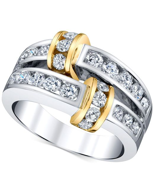 Macy's - Metallic Diamond Channel-set Statement Ring (1-1/4 Ct. T.w.) In 14k Gold & White Gold - Lyst