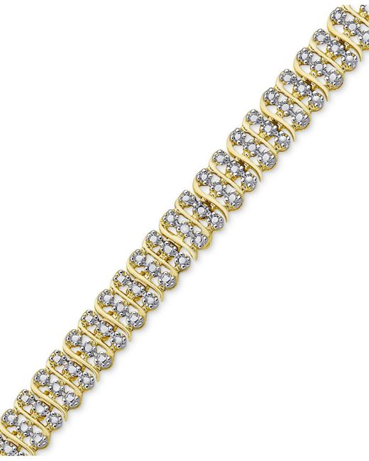 Macy's | Metallic Diamond Accent Two-tone Circle Link Bracelet In 18k Gold-plate And Rhodium-plate | Lyst