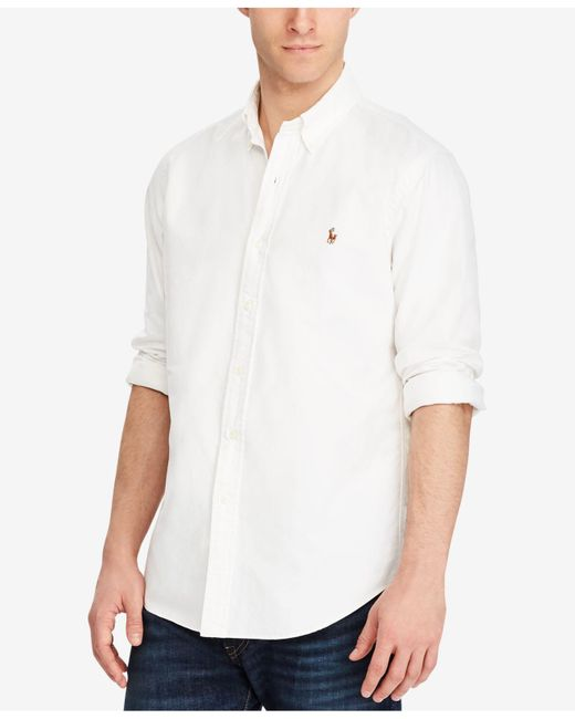 Polo Ralph Lauren - White Solid Oxford Shirt for Men - Lyst