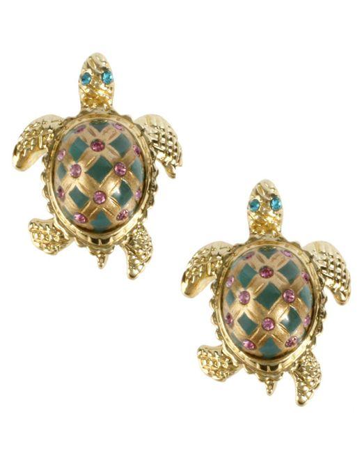 Betsey Johnson - Metallic Turtle Stud Earrings - Lyst