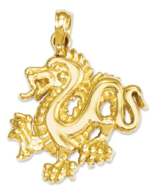 Macy's | Metallic 14k Gold Charm, Small Dragon Charm | Lyst