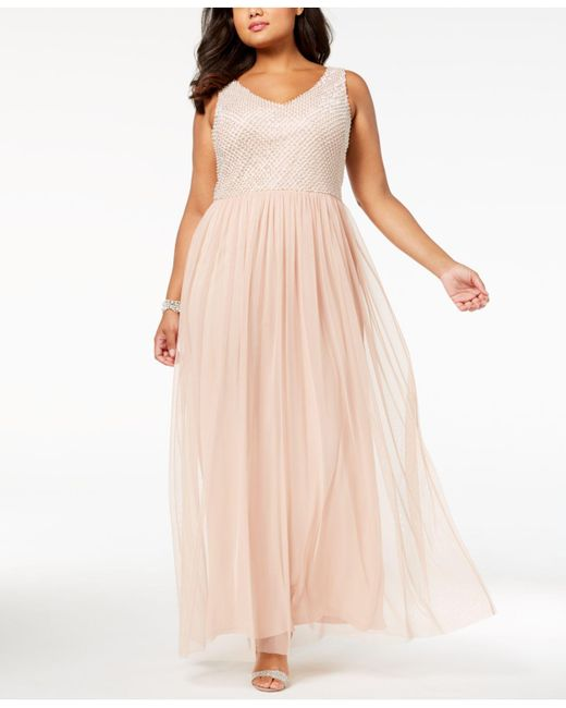 Lyst Adrianna Papell Plus Size Beaded Gown In Pink