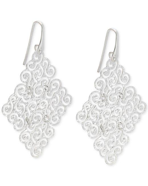 Macy's - Metallic Geometric Filigree Drop Earrings In Sterling Silver - Lyst